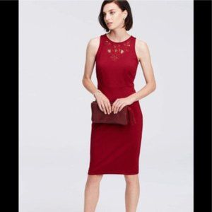 Ann Taylor Red Refined Lace Cutout Dress Size 10